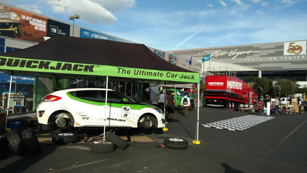QuickJack display SEMA 2016 for our Veloster Turbo